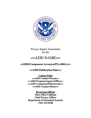 Fillable Online dhs DHS Privacy Impact Assessment Template ...
