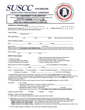 APPLICATION FOR GENERAL ADMISSION - Southern Union State ...