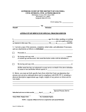 Fillable Online dccourts affidavit of service of special process ...