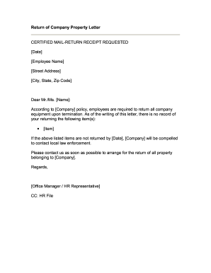 Return Property Letter Form  Employment Termination Letter Template