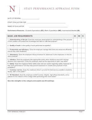 The Staff Performance Appraisal Form represents a combination ... - navarrocollege