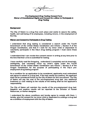 Fillable Online cityofsalem Pre-Employment Drug Screen Consent for ...
