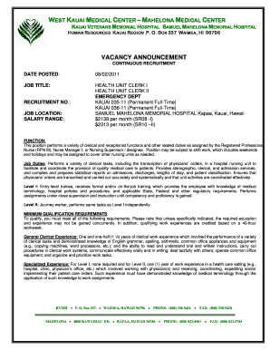 Vacancy Announcement   Kauai Veterans Memorial Hospital