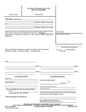 Fillable Online State Bar of Wisconsin Form 3-2003 QUIT CLAIM ...