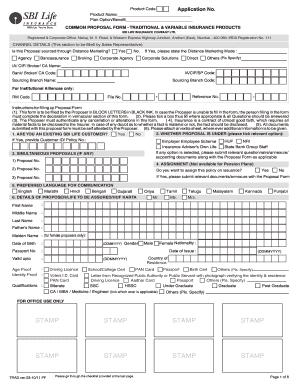 Sbi Insurance Form - Fill Online, Printable, Fillable ...