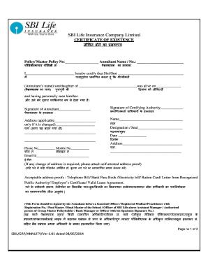 Sbi Life Certificate - Fill Online, Printable, Fillable ...