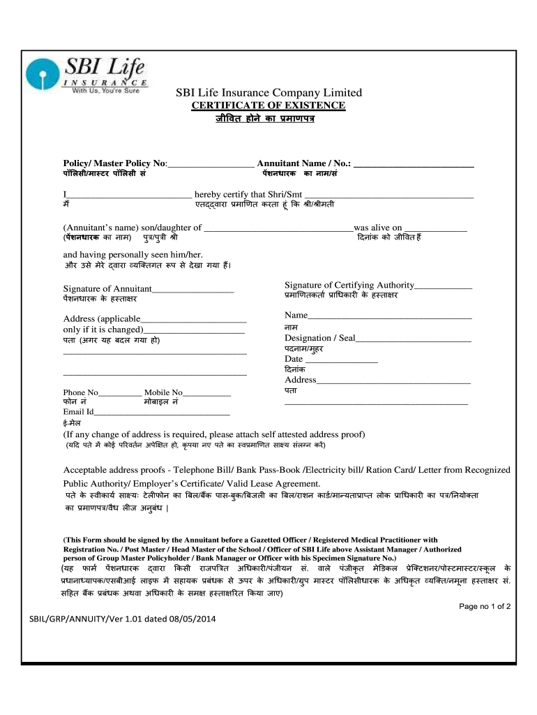 India SBI Life Insurance Certificate of Existence 2014 ...