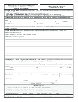 Fillable Online Montgomeryschoolsmd Mcps Form 560 51 Student Service