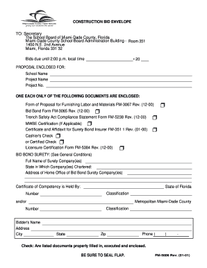 Free Construction Bid Proposal Template Download. CONSTRUCTION BID ENVELOPE  TO   Miami Dade County Public .  Free Construction Proposal Template