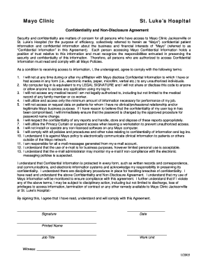 Fillable Online Mayoclinic Confidentiality And NonDisclosure - Online non disclosure agreement template