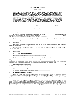 Fillable Online Multistate Balloon Fixed Rate Note (form 3260 ...