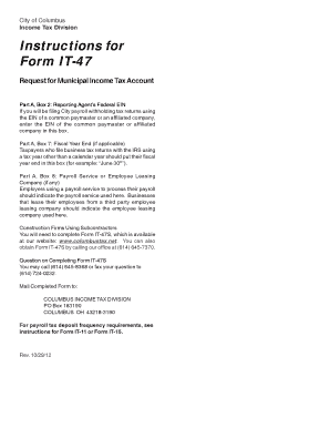 Fillable Online incometax columbus Instructions for Form IT-47 ...