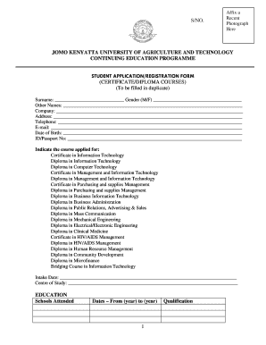 Jomo Kenyatta University Online Application - Fill Online, Printable
