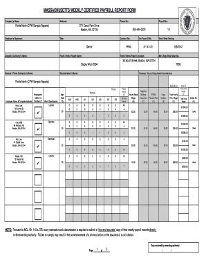 Bill Of Sale Form Massachusetts Weekly Certified Payroll Report ...