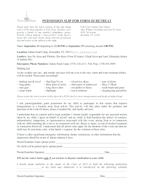 Permission slip for form iii retreat - Poly Prep Country Day School