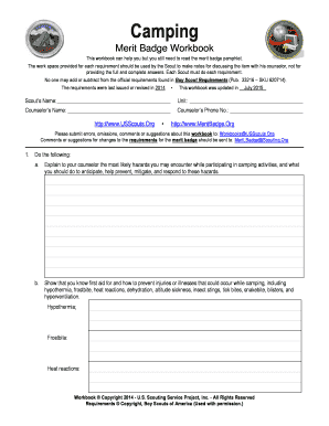 Camping Merit Badge Worksheet Answers - Phoenixpayday.com