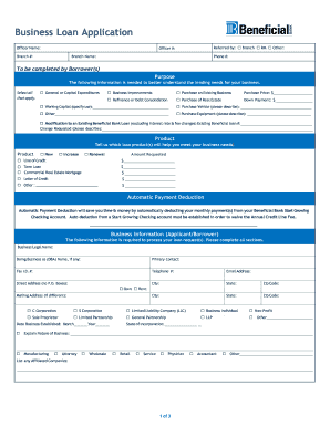 Fillable online small business loan application beneficial bank rate this form wajeb Image collections