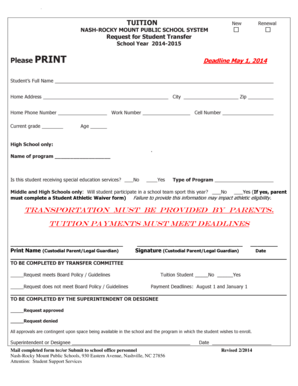 Fillable Online 2014-2015 Tuition Student Transfer Request