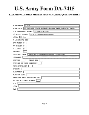 Fillable Online U.S. Army Form DA-7415 - U.S. Federal Forms Fax ...
