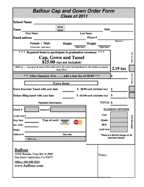 Fillable Online Balfour Cap and Gown Order Form Fax Email Print ...