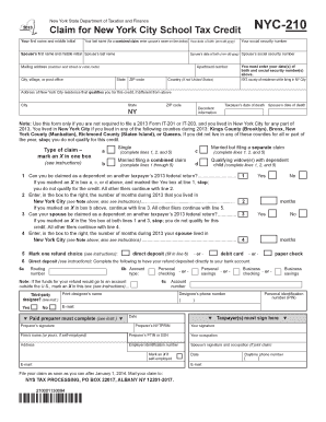 Form Nyc 210 For 2013 - Fill Online, Printable, Fillable, Blank ...