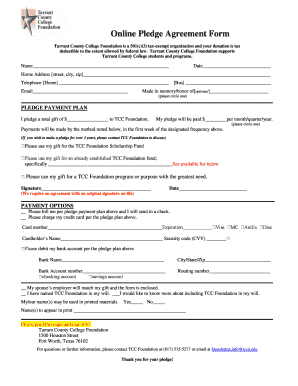 Fillable Online Online Pledge Agreement Form Fax Email Print