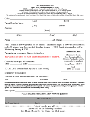 Fillable Online Dick Mealy Memorial Pool Winter Swim Lesson Registration Form Fax Email