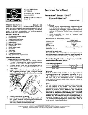 Fillable Online Technical Data Sheet Permatex? Super 300
