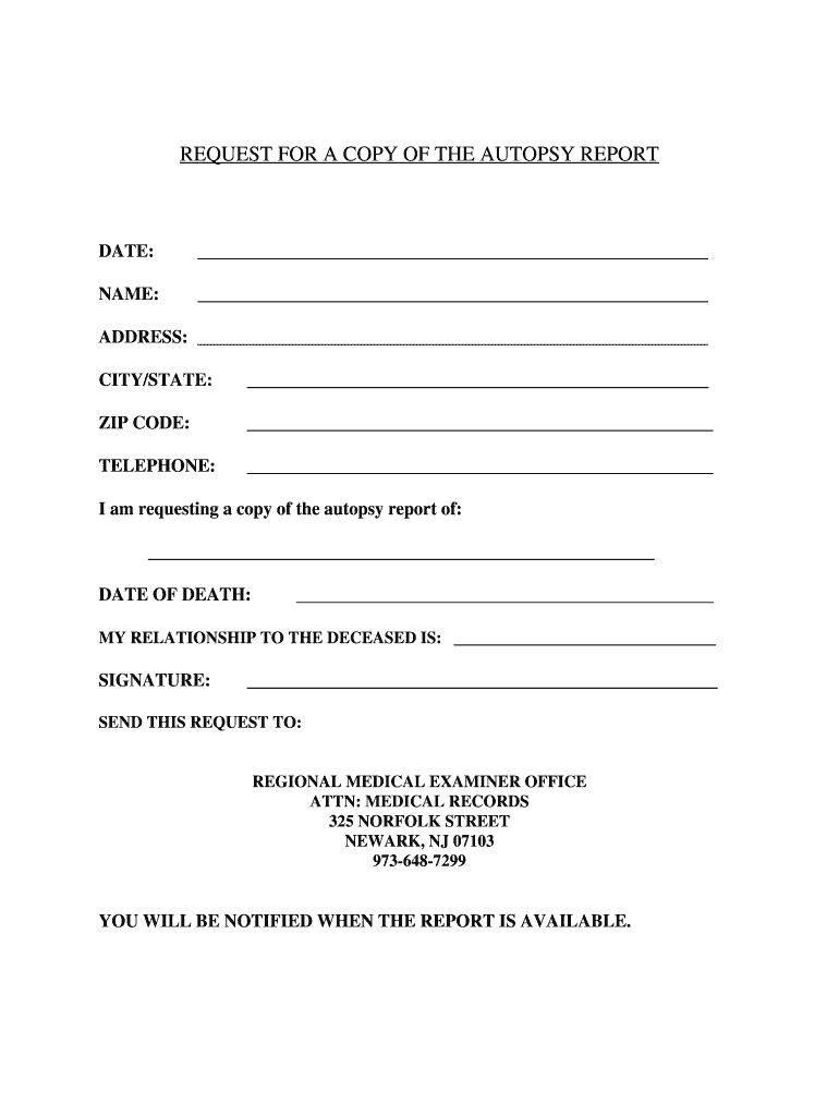 How To Get An Autopsy Report In Nj - Fill Online, Printable Inside Blank Autopsy Report Template