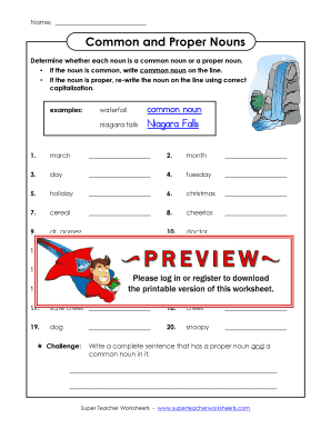 Common And Proper Nouns Super Teacher Worksheets - Fill ...