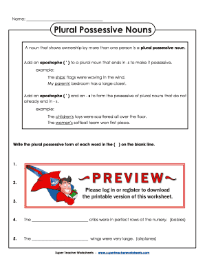 Fillable Online Plural Possessive Nouns - Super Teacher Worksheets ...
