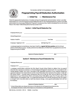 Fingerprinting Payroll Deduction Authorization Authorization for a payroll deduction for fingerprinting - palmbeachschools