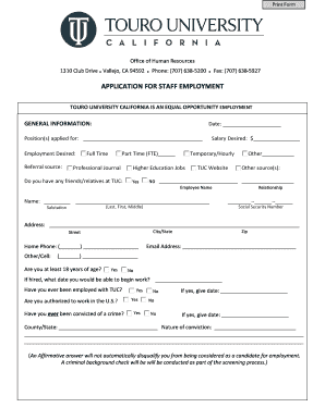 Generic application for employment form templates fillable application for staff employment human resources altavistaventures Gallery