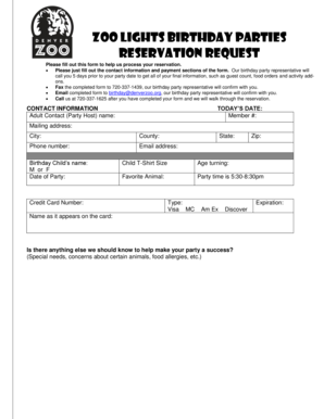 Fillable Online denverzoo Booking Date - denverzoo Fax ...