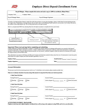 16 Printable Direct Deposit Authorization Form Adp Templates