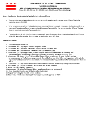L-Tag Operating Authority Application Form - dc taxi - The District of ...