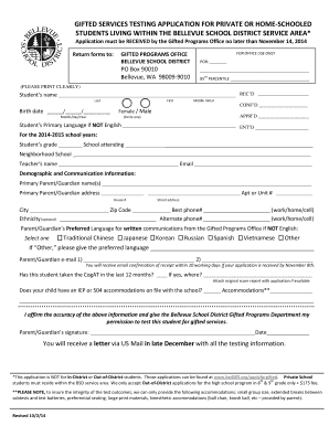 Fillable Online bsd405 GIFTED SERVICES TESTING APPLICATION FOR PRIVATE OR HOME-SCHOOLED - bsd405 Fax Email Print - PDFfiller