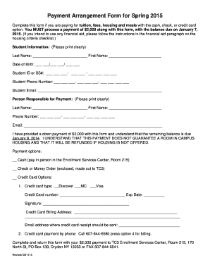 Fillable Online tc3 Payment Arrangement Form for Fall 2014 Fax ...