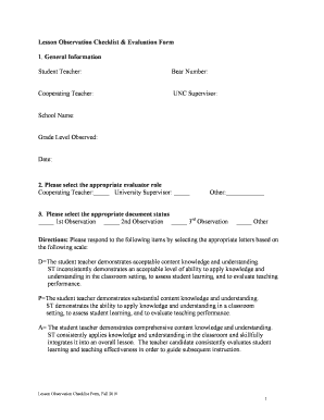Lesson Observation Checklist & Evaluation Form 1 General ... - unco