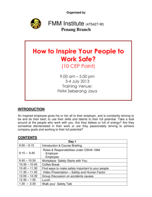 fillable online how to inspire your people to work safe fax email
