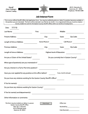 gaston county jobs form