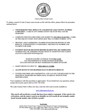 Fillable Online lakecountyclerk To obtain a search of Lake