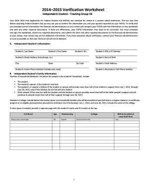 Ucsd Dependent Verification Worksheet 2015 Fill Online