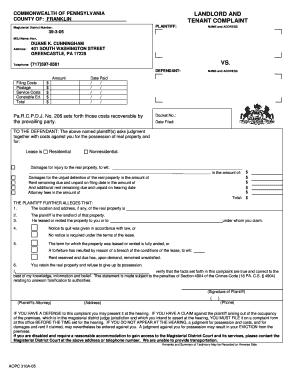 Fillable Online Landlord/Tenant Complaint Form - Judge Cunningham ...