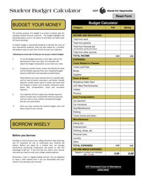 BUDGET YOUR MONEY Budget Calculator - Student Financial - finaid ucf