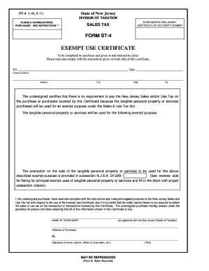 Fillable Online Form ST-4, Exempt Use Certificate - Bernhard Link ...