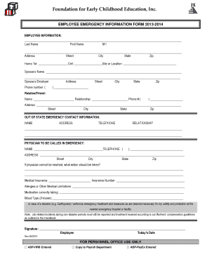 Fillable Online Employee Emergency Information Form - Foundation ...