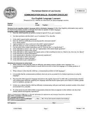 Communication Skills Teacher Checklist FORM B for ELLs - ESOL - esol leeschools
