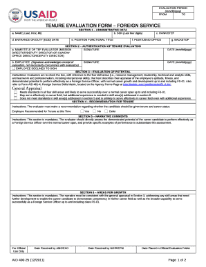 TENURE EVALUATION FORM FOREIGN SERVICE