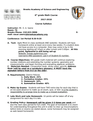 Fillable Online 6th Grade Math Course Fax Email Print Pdffiller